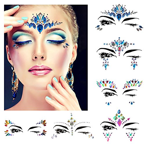 Festival face jewels Tattoo, Udyr 6 Sets Rhinestone Crystal Gem Stones Temporary Sticker Tribal Style 3D body Face And Eye Jewels Forehead Stage Decor (blue)