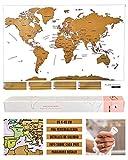 Flamingueo Mapa Mundi Rascar - Poster Mapa Mundi para Rascar, Mapamundi con Púa para Marcar Viajes,...