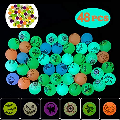 """QINGQIU 48 PCS Halloween Glow in The Dark Bouncy Balls 1.25"""" Bouncing Balls Halloween Toys for Kids Girls Boys Halloween Party Favors Supplies Treat Bags Gifts Fillers Classroom Prizes School Game"""