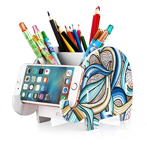 COOLBROS Elephant Pencil Holder With Phone Holder Desk Organizer Desktop Pen Pencil Mobile Phone Bracket Stand Storage Pot Holder Container Stationery Box Organizer (Indian elephan)