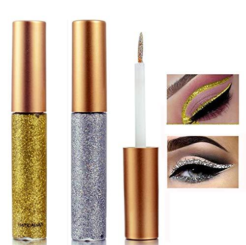 Liquid Eyeliner Glitter Liquid Eyeliner Metallic Shimmer Eyeshadow, Long Lasting Waterproof Makeup Eyeliner 2 Colors (#3 Silver/#2 Golden)