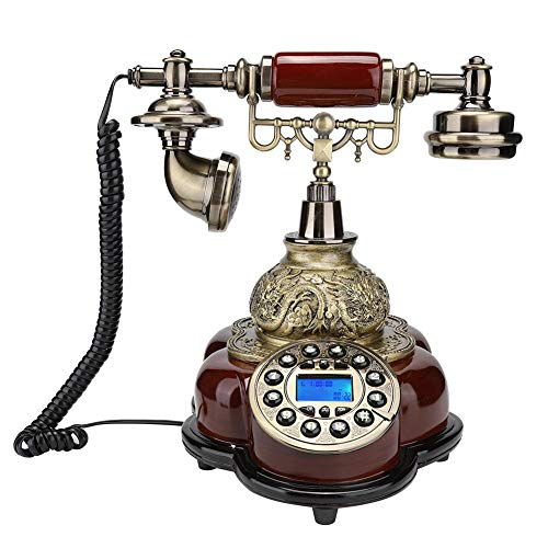 Mugast Retro snoergebonden telefoon, vintage antieke desktop FSK/DTMF beller ID vaste telefoon met elektronische kalender, datum, klok, weekweergave voor thuis, op kantoor of in hoteldecoratie