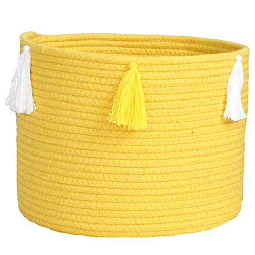 Cesta de almacenamiento Torey tejida a mano con cordón de algodón decorativo para decorar el cuarto de bebé, contenedor de almacenamiento para el hogar (30 x 24 cm)