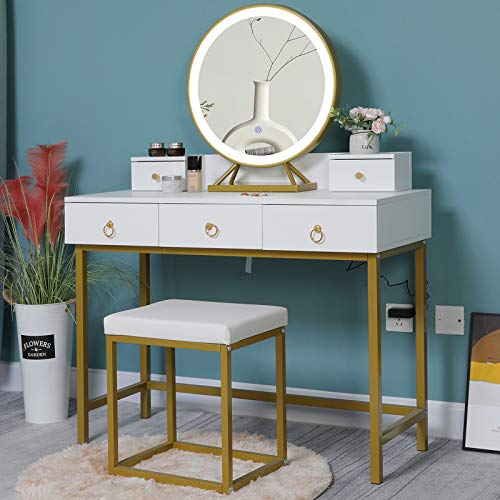 """Iwell Vanity Table Set with 3 Color Lighted Mirror, 39.4"""" L Makeup Vanity Table with 5 Drawers & Cushioned Stool, Gift for Women Girls, Bedroom White"""