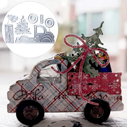 Mothcattl Schneiden Stirbt, Weihnachtsbaum Auto Metall Prägung Schablone Form Vorlage Für DIY-Karte Herstellung Prägung Schablone Sammelalbum Album Papier Handwerk Dekor Silber
