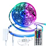 Led Strip Lighting 5M 16.4 Ft 5050 RGB Flexible Color Changing Full Kit with 44 Keys IR Remote Controller, Control Box,12V 2A Power Supply,Not-Waterproof