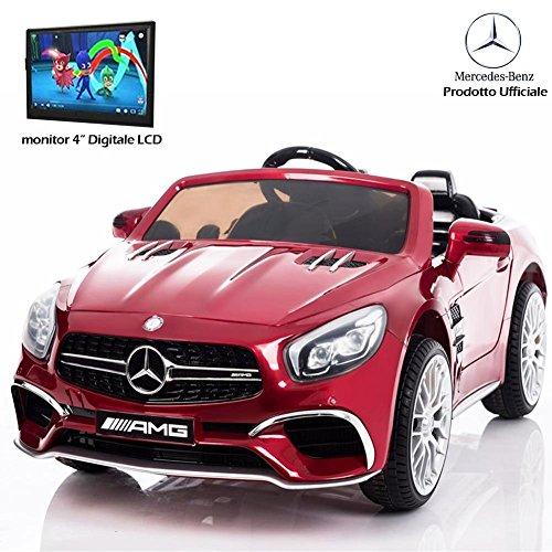 BAKAJI Auto Macchina Elettrica per Bambini Mercedes SL65 AMG 12V con Fari a LED, Monitor Televisore LCD 4' MP3 e MP4 , Telecomando Parental Control,Display Digitale, Suoni Realistici… (Rosso)