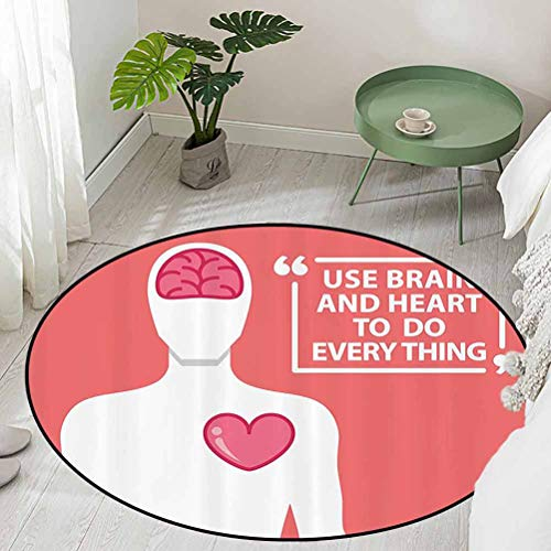 Round Office Chair Floor Mat Foot Pad Human Shape with Words Use Brain and Heart to Do Everything Relationship Image Diameter 54 inch Kids Rugs