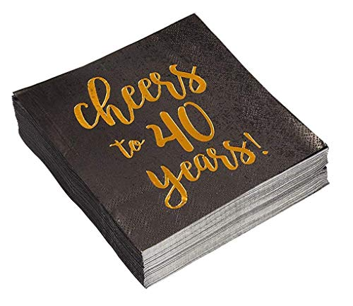 Gold Foil Cheers to 40 Years Black Cocktail Paper Napkins (5 x 5 In, 50 Pack)