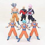 LWH-MOU 18 cm 6 Piezas/Set Dragon Ball Z Figura Super Ultra Instinct Goku Super Saiyan Rose Goku Black Jiren Brolly PVC Figura de acción Toy 2