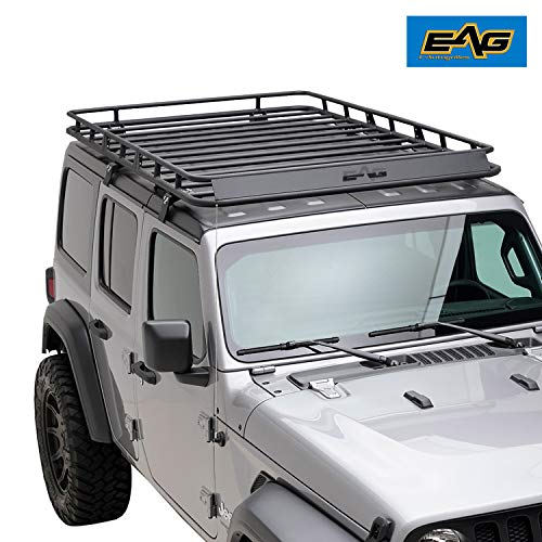 EAG 4 Door Roof Rack Cargo Basket with Wind Deflector Fits for 18-20 Jeep Wrangler JL