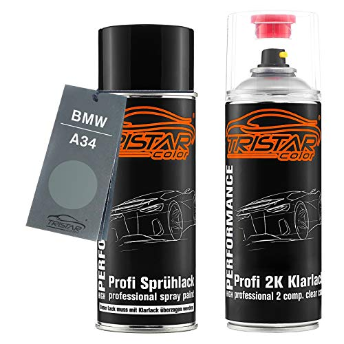 TRISTARcolor Autolack 2K Spraydosen Set für BMW A34 Arktis Metallic/Arctic Metallic Basislack 2 Komponenten Klarlack Sprühdose