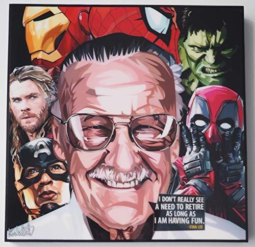 GLAGOODS Ironman Spiderman Hulk Thor Capitán América Stan Lee Marvel Los Vengadores Ensamblar Iconic Movie Cartoon Pop Art Lienzo Enmarcado para Pared Arte Impresiones Póster Vinilo Regalo Citas