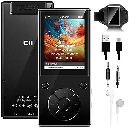 Reproductor de música MP3 Bluetooth 5.0 de 32 GB con altavoz integrado con pantalla HD de 2,4 pulgadas, radio FM, función de grabadora de voz, cuerpo de metal, compatible con tarjeta SD de hasta 128 G