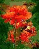 JASIOHCDSPintura de Bricolaje por Kits de números Pintura acrílica por número para decoración del hogar Arte de Pared Flor de mariposa-1216 Pulgadas (Sin Marco) Pintura al óleo Pintada a Mano