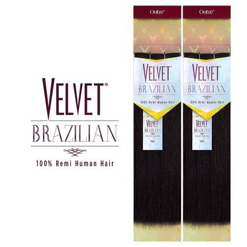 """Outre Velvet Brazilian 100% Remi Human Hair Weave - YAKI (12"""", 1B - OFF BLACK)"""