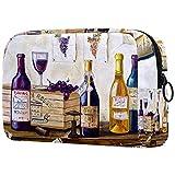 Neceser de Viaje para cosméticos Bolsa de Maquillaje con Cierre de Cremallera portátil Diaria,Bodegón de Botellas de Vino y Uvas.