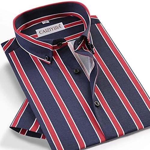 Hemd Herren-Kurzarmhemd Im Sommerstil Lässiges, Mehrfarbig Gestreiftes Hemd Taschenloses Design Standard-Passform Hemden Mit Button-Down-Kragen 39 Czlx5012