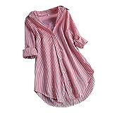 oversize - Maglia lunga da donna, elegante, in cotone chic, a maniche lunghe, con bottone, per lo streetwear, per lo sport, stile vintage, per adolescenti e ragazze, con orlo alto A05 L