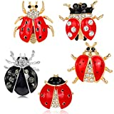 Reizteko Red Black Ladybug Charm Animal Insect Brooch Pin Women Jewelry (pack of 5)