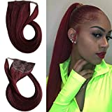 Long Wrap Around Ponytail Hair Extensions Human Hair Ponytail Afro Ponytail for Natural Hair Ponytail Hair Piece Human Hair Extensions Clip on Remy Hair Extensions Wine Red 18inch(99J# Burgundy)100g