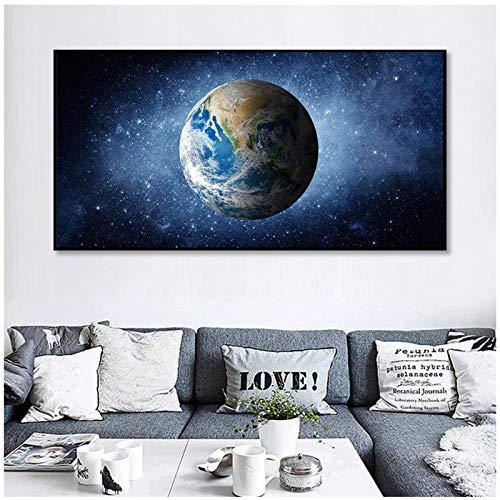 MULMF Aarde affiche wooncultuur muur kunst Galaxie Planet canvas schilderij schilderij schilderij moderne decoratie ster ruimte voor woonkamer - 40 x 80 cm geen lijst