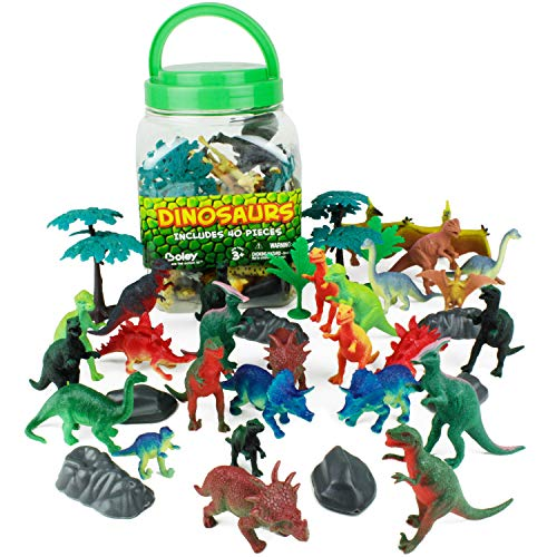 Boley 40Piece Big Bucket Toys-Tub of Educational Dinosaur Toy Playset with T-Rex  Velociraptor & More-Small  Multicolor