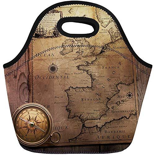 Lunch Bags Oude Kompas op Vintage Kaart Frankrijk Spanje Engeland Portugal Neopreen Lunch Bag Lunchbox Tote Bag Draagbare Picknick Bag Cooler Bag