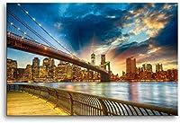 ブルックリン橋夕暮れ景色風景ポスターキャンバス絵画壁アート写真リビングルームの装飾壁アートプリント50x70cmフレームなし