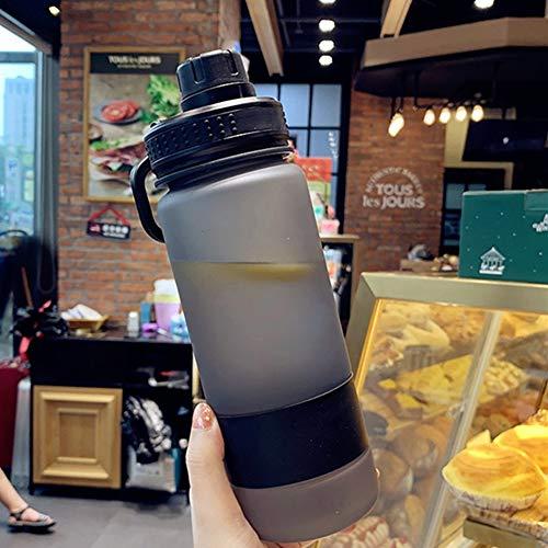 Enticerowts - Botella de agua portátil de gran capacidad, de plástico, a prueba de fugas, mate, con soporte para teléfono móvil, para deportes al aire libre, viajes, 700/900 ml, color negro, tamaño 700 ml