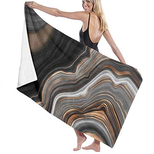 Elegante mármol Negro con Vetas de Oro y Cobre Toalla de Playa de Microfibra para Hombres y Mujeres Toalla de baño Extragrande de Secado rápido súper Absorbente para Viajes, Piscina, Playa