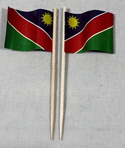 Buddel-Bini Party-Picker Flagge Namibia Papierfähnchen in Profiqualität 50 Stück 8 cm Offsetdruck Riesenauswahl aus eigener Herstellung
