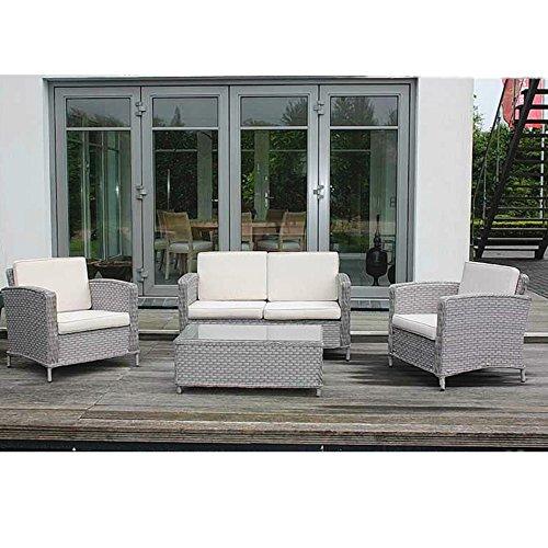 Conjunto de muebles de jardín de aluminio con estructura de ratán sintético