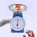 Jsmhh Escalas de la Cocina mecánica, balanza de Cocina con Escalas Bowl, la cocción de Alimentos, de Lectura fácil Dial, Acero Inoxidable, Desmontable Bowl, hogar y la Cocina 15kg Azul