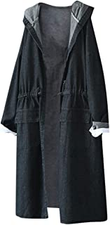 Fashion Winter Ladies Hooded Outwear Casual Long Sleeve Women Denim Jacket Long Jeancoat