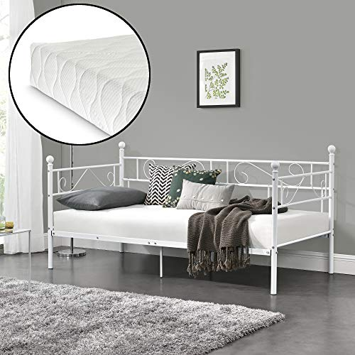 [en.casa] Metallbett mit Matratze 90x200 Metall-Tagesbett mit Lattenrost Öko-Tex Standard 100 Atmungsaktiv Kojenbett Bett Schlafzimmerbett Weiß