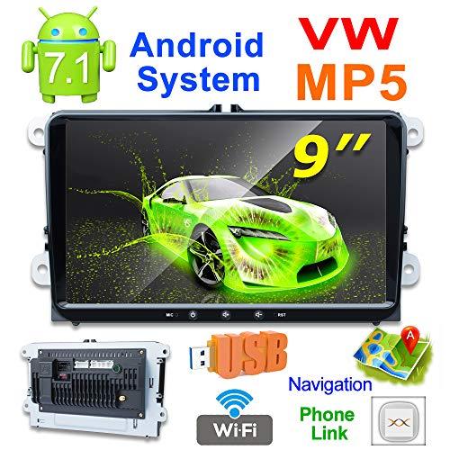 X-REAKO Android 7.1 Reproductor MP5 radio 2 din 9 pulgadas 1080HD bluetooth Car Stereo GPS navegación Compatible para VW Volkswagen Skoda Golf 5 Golf 6 Polo Passat Jetta GPS Navegador 1GB RAM 16GB ROM