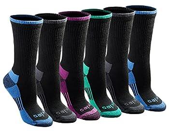 Dickies Women s Dritech Advanced Moisture Wicking Crew Sock  6/12 Black Assorted  6 Pairs  Shoe Size  6-9