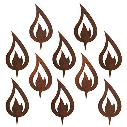 GWHOLE 10 Stück Flamme Edelrost Rost deko für Garten Weihnachten Weihnachtsdeko Rostoptik Kerze Advent zum Stecken 12 x 6 cm