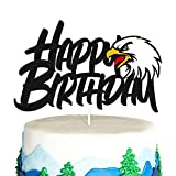 Eagle Birthday Cake Topper for Bald Eagle Themed Men Kids Boy Girl Birthday Party Supplies Black Glitter Double Sided Decor