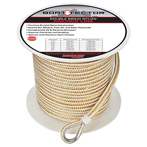 """Extreme Max 3006.2252 BoatTector Premium Double Braid Nylon Anchor Line with Thimble - 3/8"""" x 250', White & Gold"""