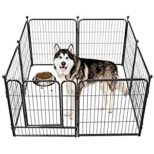 TOOCA Dog Pen 16 Panels 24″/32″,8 Panels 40″ Height RV Dog Fence Outdoor, Playpens Exercise Pen for Dogs, Metal, Protect Design Poles, Foldable Barrier with Door