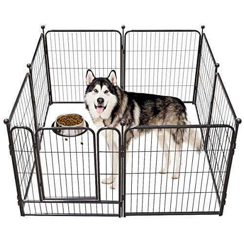TOOCA Dog Pen Indoor 40 inches 8 Panels, Dog Fence Playpens Exercise Pen Dog Kennel for Large Dogs Outdoor, Ball Poles Design, Metal, Foldable Barrier with Door, Black