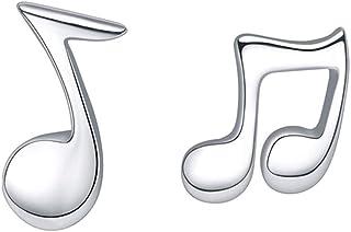 Belons Pendientes de plata de ley 925 con diseño de nota musical para mujeres y niñas