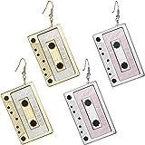 2 Paar Tape Ohrringe Kassette Baumeln Ohrringe Punk Tape Ohrringe für Damen Mädchen