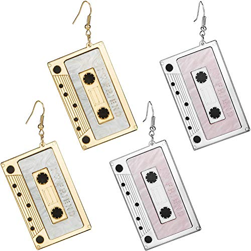 2 Pairs Tape Earrings Cassette Dangle Earrings Punk Tape Earrings for Women Girls