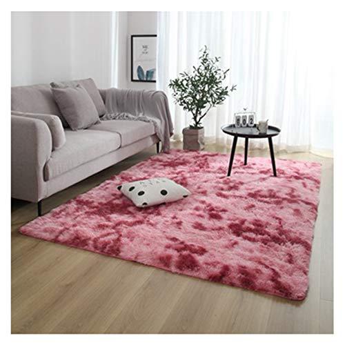 YXBB Moda nórdica mullida mullida Antideslizante Alfombra teñida Mezcla Sala de Estar Dormitorio Centro Alfombra Grande tamaño alfombras de Pelo 0115 (Color : Wine Red)