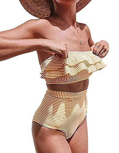 Traje de baño de Dos Piezas para Mujer de Gama Alta Traje de baño sin Tirantes de Corte Alto de 2 Piezas Traje de baño de Cintura Alta Bikini de Playa con patrón de Rayas