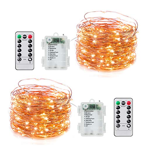 Fairy Lights Battery Operated, 20 Ft. 60 LED Firefly String Lights with Remote & Timer, 8 Lighting Modes Waterproof Twinkle Lights for Crafts Bedroom Garden Party Christmas, Warm White (2 Pack)