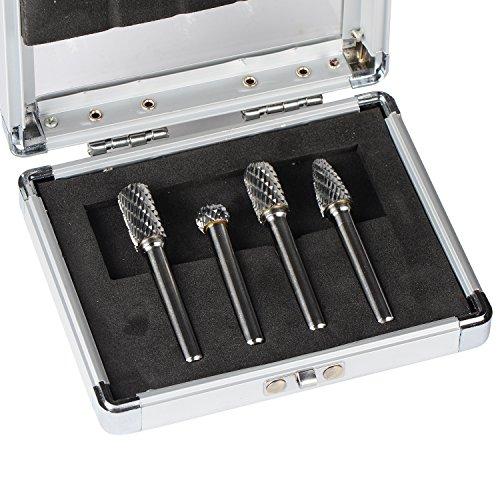 SpeTool Carbide Rotary Burr Double Cut 1/4 Inch Shank Die Grinder Drill 10mm Head Dia 4Pcs/Set